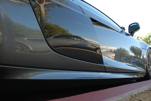 Daytona Grey Pearl Audi R8 V10_low side view w/ BMW reflection_Cars&Coffee/Irvine_January 19, 2013