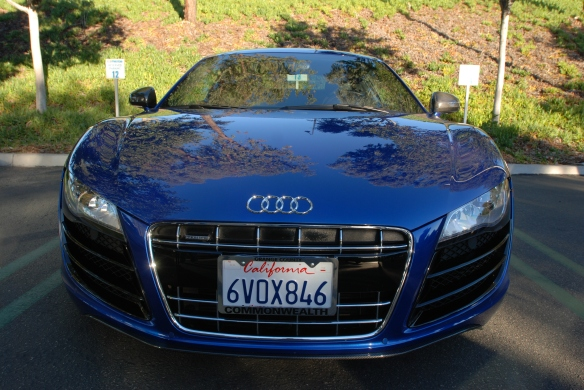 Blue metallic Audi R8 _ front view with tree reflections_Cars&Coffee/Irvine_January 19, 2013