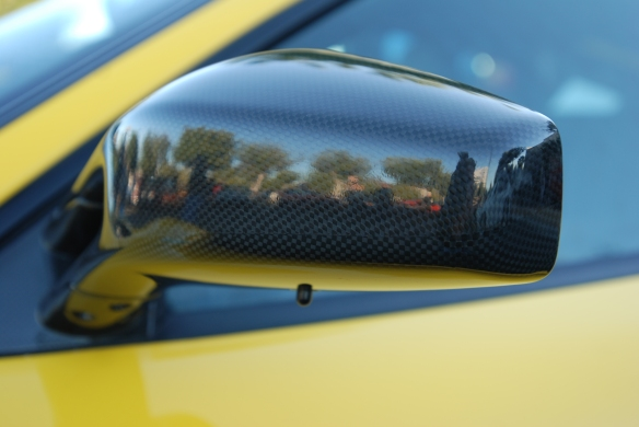 Fly yellow Ferrari F430 Scuderia _Carbon fiber side mirror w/reflections_Cars&Coffee/Irvine_January 19, 2013