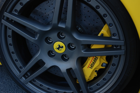 Fly yellow Ferrari F430 Scuderia _front wheel and brake caliper_Cars&Coffee/Irvine_January 19, 2013