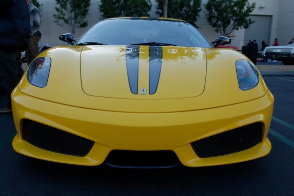 Fly yellow Ferrari F430 Scuderia _front view with reflections_Cars&Coffee/Irvine_January 19, 2013