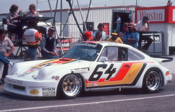 Dennis Aase #64 Porsche 911 GTU_ 3/4 side view, pit lane_ Riverside raceway_April 1980