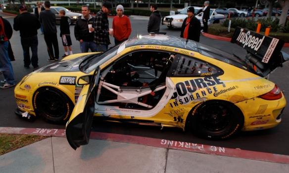 Truspeed yellow & black # 80, Porsche GT3 Cup car_side view with drivers side opened door_Cars&Coffee/Irvine_February 2, 2013