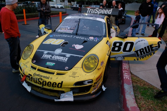 Truspeed yellow & black # 80, Porsche GT3 Cup car_3/4 front view with opened doors_Cars&Coffee/Irvine_February 2, 2013
