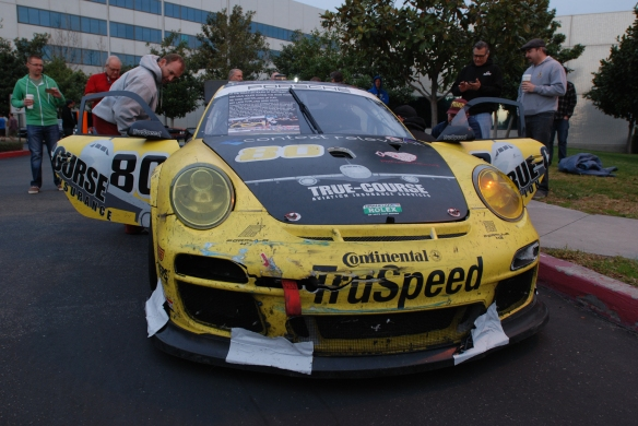 Truspeed yellow & black # 80, Porsche GT3 Cup car__Front view with doors opened and splitter racer taped_Cars&Coffee/Irvine_February 2, 2013