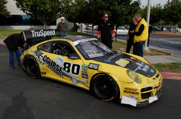 Truspeed yellow & black # 80, Porsche GT3 Cup car__3/4 side view with raised rear wing_Cars&Coffee/Irvine_February 2, 2013