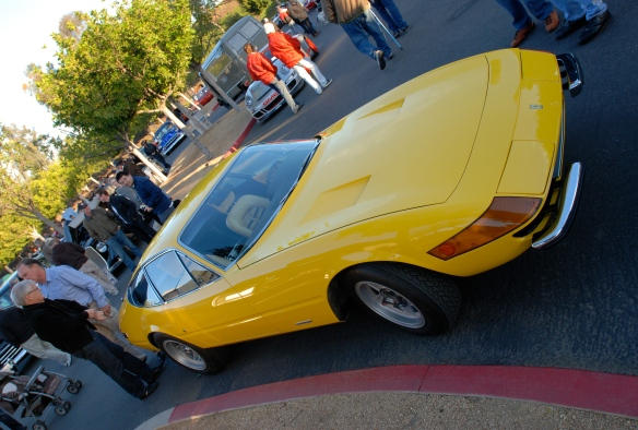 "(1971-1973) Fly Yellow Ferrari 365GTB/4 ""Daytona Coupe""_3/4 angled view_Cars&Coffee/Irvine_February 16, 2013"