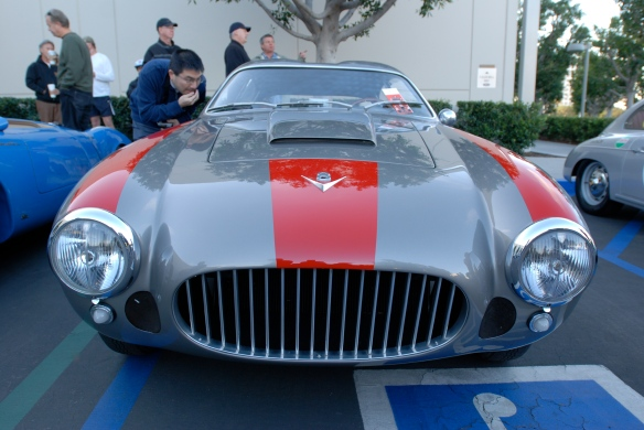 1955 charcoal gray and red striped Zagato Fiat 8V /double bubble coupe_ front view_Cars&Coffee/Irvine_February 16, 2013