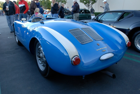 Blue 1955 Porsche 550 Spyder_3/4 rear view _Cars&Coffee/Irvine_February 16, 2013
