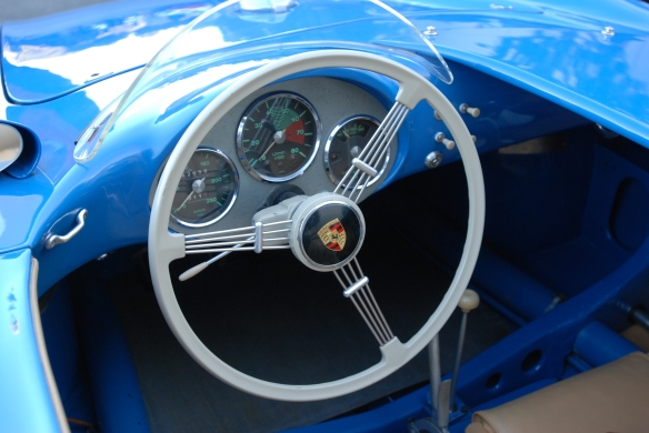 Blue 1955 Porsche 550 Spyder_ steering wheel & dash detail _Cars&Coffee/Irvine_February 16, 2013