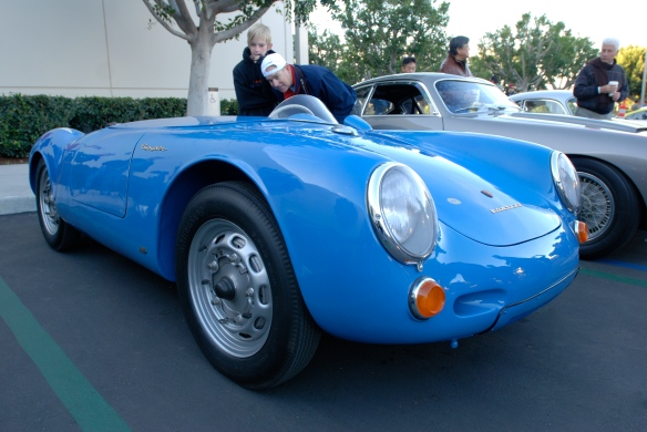 Blue 1955 Porsche 550 Spyder_ 3/4 front viewl _Cars&Coffee/Irvine_February 16, 2013