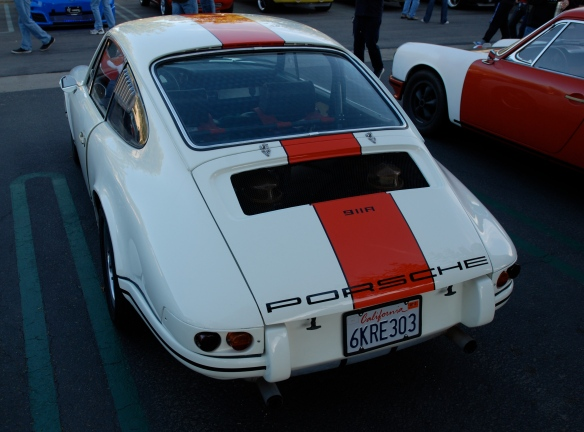 White with orange stripe 1967 Porsche 911R recreation_3/4 rear view_Cars&Coffee/irvine_February 16, 2013