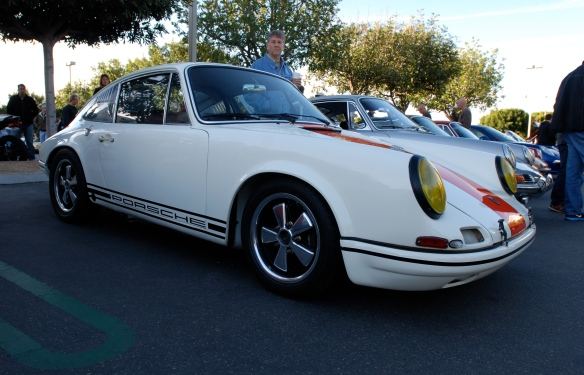 White with orange stripe 1967 Porsche 911R recreation_3/4 side view_Cars&Coffee/irvine_February 16, 2013