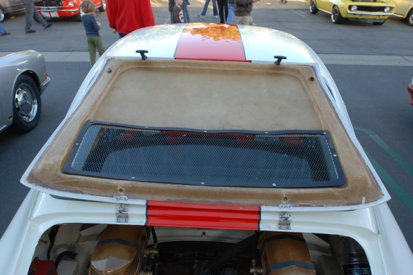 White with orange stripe 1967 Porsche 911R recreation_detail shot of fiberglass rear deck lid_Cars&Coffee/irvine_February 16, 2013