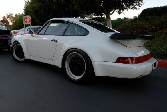 1991 Grand Prix white Porsche 964 turbo_ 3/4 rear view w/ reflections_Cars&Coffee/Irvine_January 19, 2013