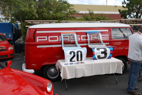 Red & white VW bus with Porsche factory graphics_917 doors  on display_Phoenix club all Porsche Swap & Display_3/03/13