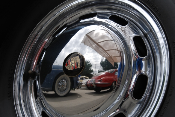 Blue and Red Porsche 356 reflections in hubcap of 356_Phoenix club all Porsche Swap & Display_3/03/13