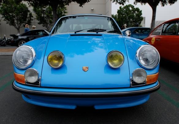 Pastel Blue 1971 Porsche 911T_front view_cars&coffee/Irvine_3/16/13
