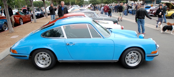 Pastel Blue 1971 Porsche 911T_side view_cars&coffee/Irvine_3/16/13
