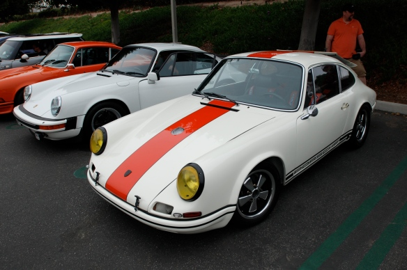 White with blood orange stripe 1967 Porsche 911R tribute _3/4 front view_cars&coffee/Irvine_3/16/13