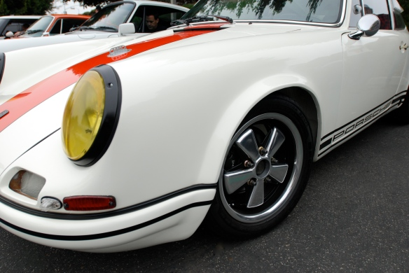 White with blood orange stripe 1967 Porsche 911R tribute _ front fender, headlight & wheel detail_cars&coffee/Irvine_3/16/13