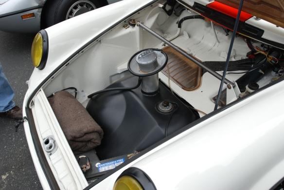 White with blood  orange stripe 1967 Porsche 911R tribute _ front  trunk detail_cars&coffee/Irvine_3/16/13