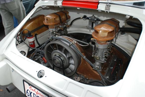 White with blood orange stripe 1967 Porsche 911R tribute _motor with custom fiberglass shroud, carb venturis and electronics housing detail_cars&coffee/Irvine_3/16/13