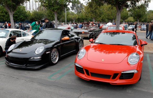 2013 Guards Red Porsche Type 991, 911 Carrera S and Black  2007 Porsche GT3RS with BBS cup wheels _3/4 front views_cars&coffee/irvine_3/16/13