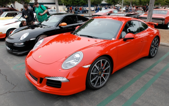 2013 Guards Red Porsche Type 991, 911 Carrera S with Aerokit cup option package _3/4 front views_cars&coffee/irvine_3/16/13