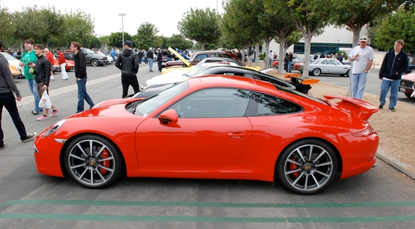 2013 Guards Red Porsche Type 991, 911 Carrera S with Aerokit cup option package _side view_cars&coffee/irvine_3/16/13