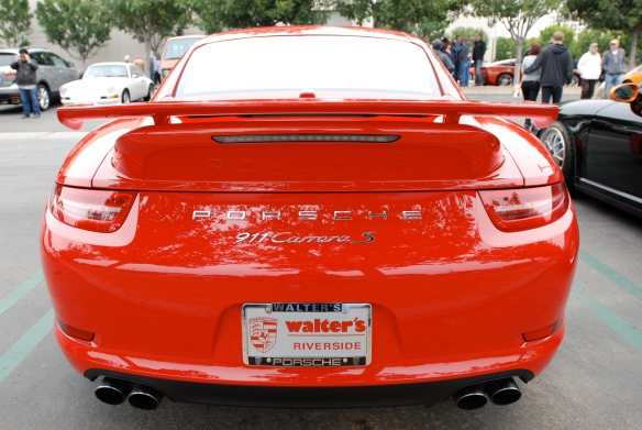 2013 Guards Red Porsche Type 991, 911 Carrera S with Aerokit cup option package _rear view_cars&coffee/irvine_3/16/13