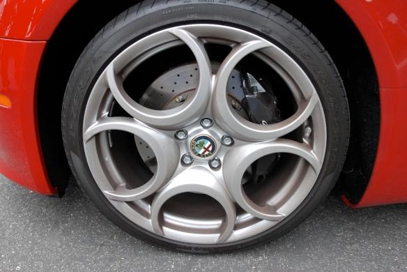 Red 2008 Alfa Romeo 8C Competizione_front wheel detail_cars&coffee/Irvine_3/16/13