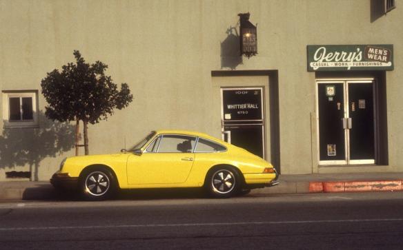 Yellow 1966 Porsche 911_side view_uptown whittier_January 1975