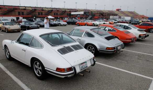 Trio of one family's three Porsche 911s _Porsche Corral_3/4 rear view_California Festival of Speed_April 6, 2013
