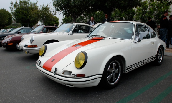 White with blood orange stripe 1967 Porsche 911 R tribute_3/4 front view-_cars&coffee_3/23/13