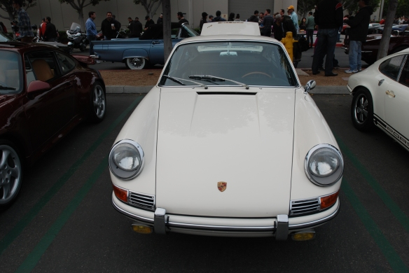 White 1965 Porsche 911_front view-cars&coffee-3/23/13