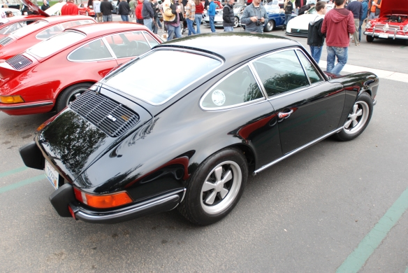 Black 1973 Porsche 911 E_3/4 rear view_cars&coffee_3/23/13