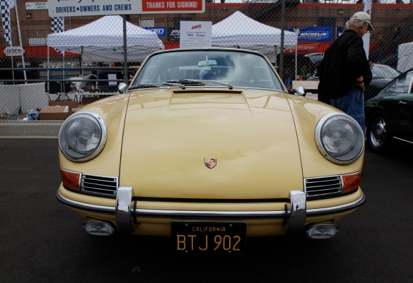 50th anniversary  of the Porsche 911 display_Pale yellow 1965 911 Coupe / front view _California Festival of Speed_April 6, 2013