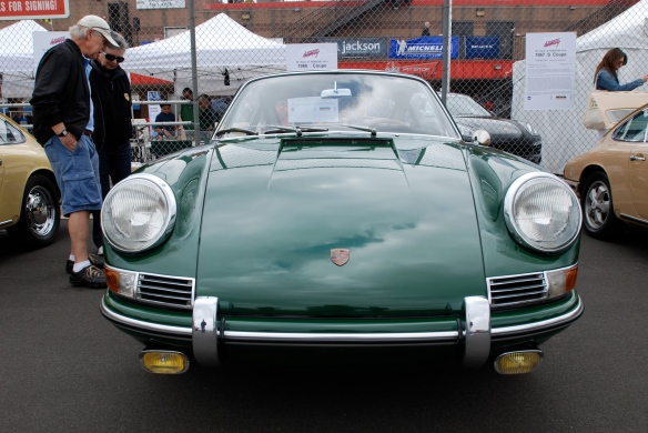 50th anniversary  of the Porsche 911 display_Green 1966 911  Coupe / front view _California Festival of Speed_April 6, 2013