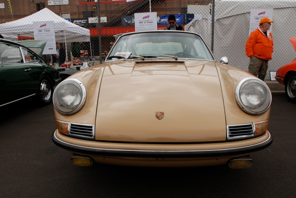 50th anniversary  of the Porsche 911 display_Sand Beige 1967 911S  Coupe / front view _California Festival of Speed_April 6, 2013