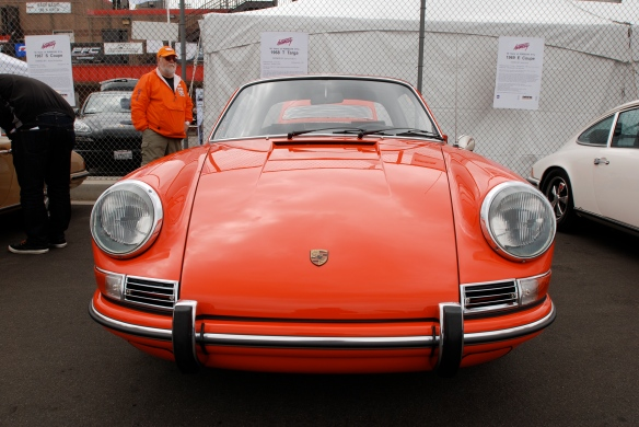 50th anniversary  of the Porsche 911 display_Tangerine 1968 911T  soft window Targa  / front  view _California Festival of Speed_April 6, 2013
