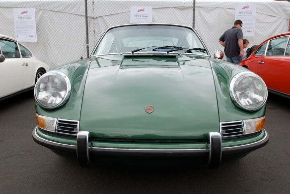 50th anniversary  of the Porsche 911 display_ Metallic Green 1970 911S  coupe  / front view _California Festival of Speed_April 6, 2013