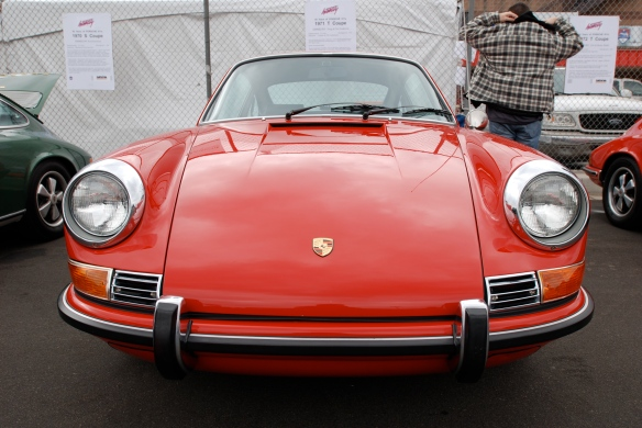 50th anniversary  of the Porsche 911 display_ Red 1971 911T  coupe / front view _California Festival of Speed_April 6, 2013