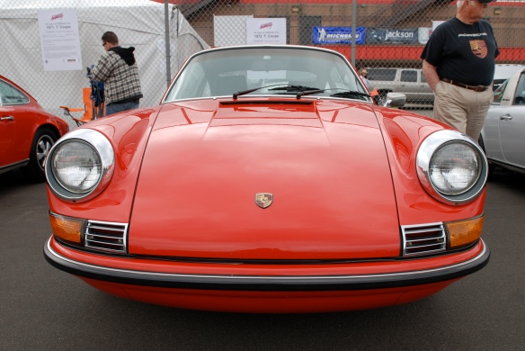 50th anniversary  of the Porsche 911 display_ Red 1972 911T  coupe / front view _California Festival of Speed_April 6, 2013