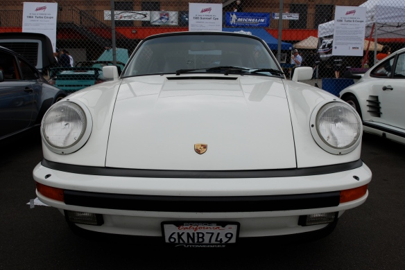 50th anniversary  of the Porsche 911 display_White 1985 911 Carrera Coupe / front view _California Festival of Speed_April 6, 2013