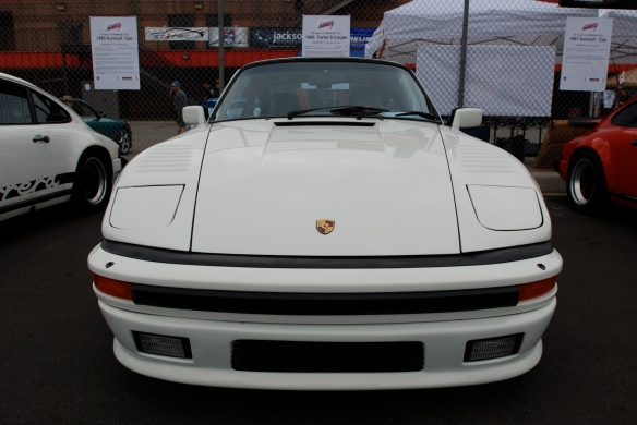 50th anniversary  of the Porsche 911 display_Pearl white 1986 911 Turbo Slope nose Coupe  / front view _California Festival of Speed_April 6, 2013