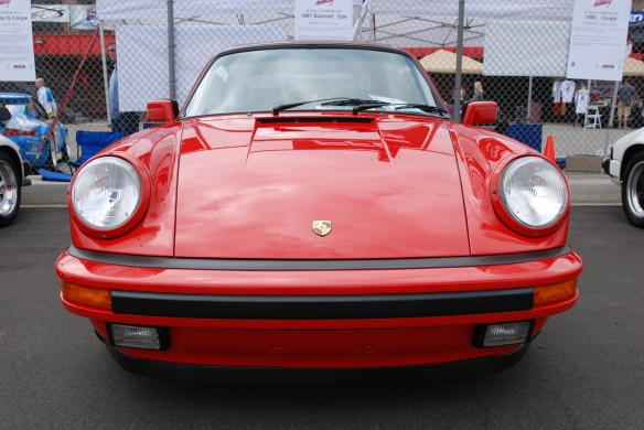 50th anniversary  of the Porsche 911 display_Guards Red 1987 911 Carrera Coupe / front view _California Festival of Speed_April 6, 2013