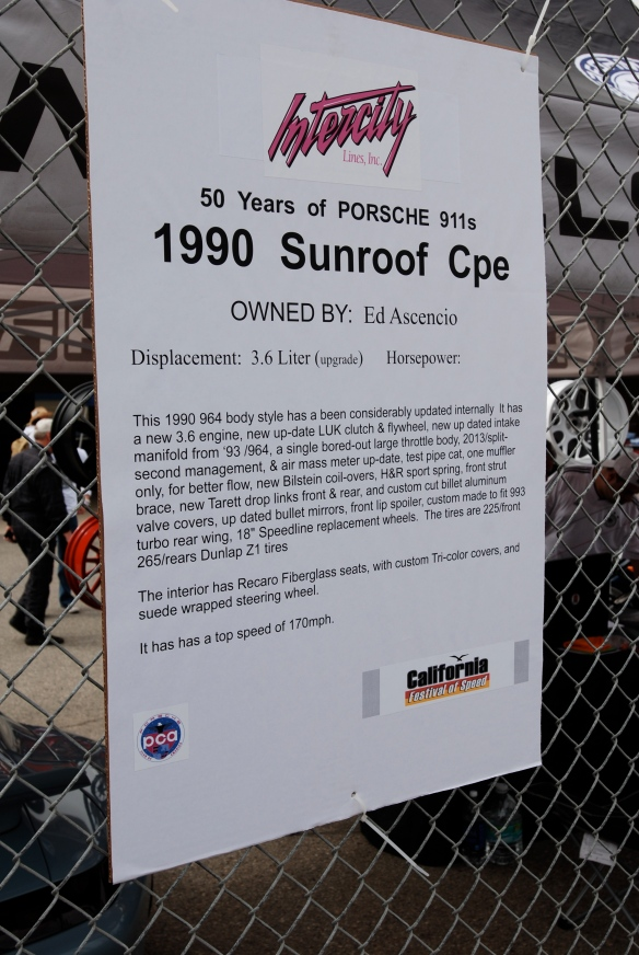 50th anniversary  of the Porsche 911 display_Black 1990 964 Coupe biography _California Festival of Speed_April 6, 2013