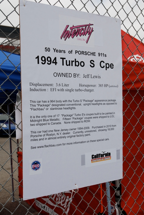 50th anniversary  of the Porsche 911 display_Midnight Blue 1994  964 Turbos S coupe  biography _California Festival of Speed_April 6, 2013