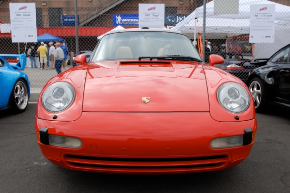 50th anniversary  of the Porsche 911 display_Red 1997  993 Targa  / front view _California Festival of Speed_April 6, 2013
